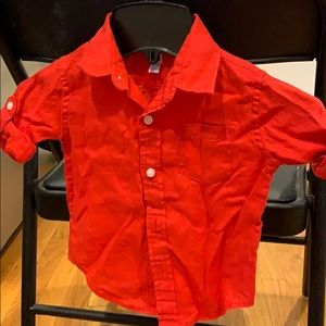 100% Linen Janie and Jack red button down shirt .